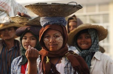 Faces Of Myanmar (Burma) - Local Burmese People Stock Photo ...