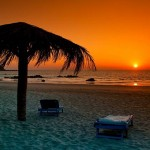 Beautiful Ngapali Beach at dusk.
