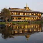 Nga Phe Chaung Kyaung Monastary mirrored in the Inle Lake, Shan State, Myanmar