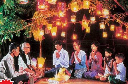 3 generations of a Myanmar Family in Full Moon Festival Waso.