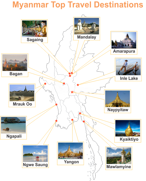 Maps Update 650500 Myanmar Tourist Map Myanmar Top Places to – Myanmar Travel Map