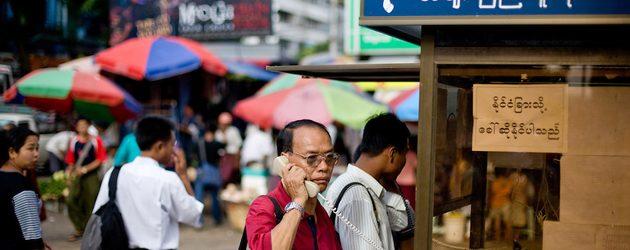Public phone in Yangon, Myanmar