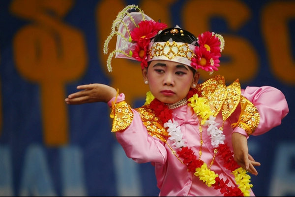 A young girls in a performance in New Year Festival