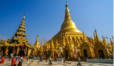 The ancient and top rated charming Shwedagon Pagoda in Myanmar