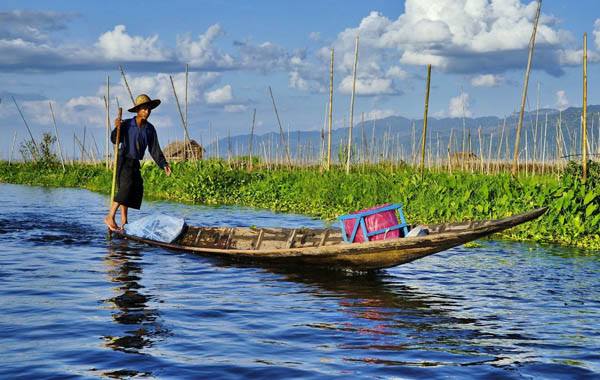 Inle Lake - the floating vegetable gardens on water