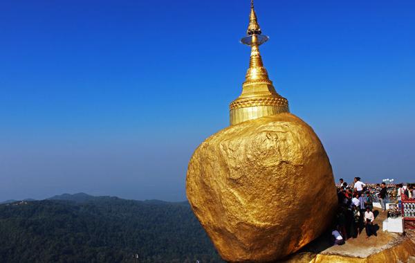 Golden rock - a famous Buddhist pilgrimage site
