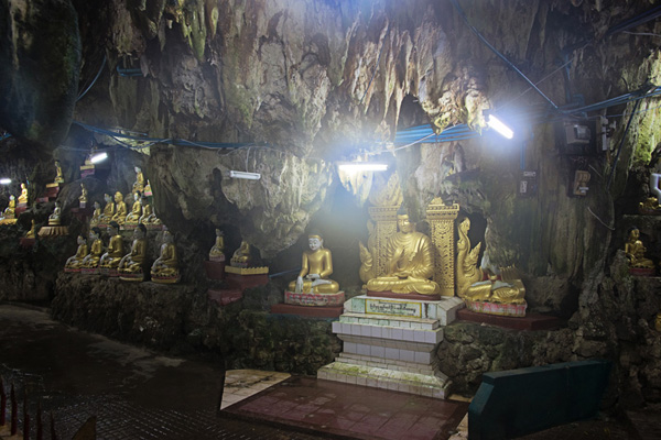 Buddha images inside Peik Chin Myaung cave