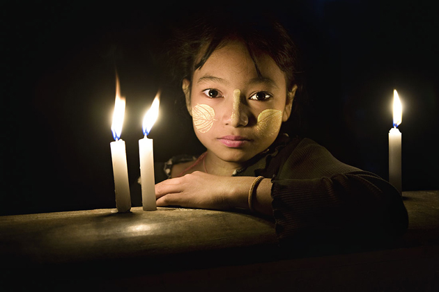 Burmese girl smoothed thanaka