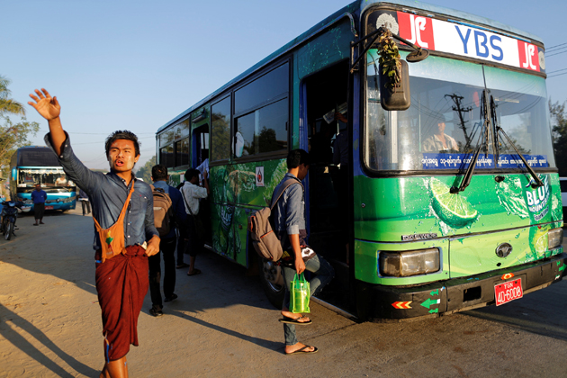 Buses are the main transport of Burmese people