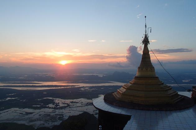 Sunset over Mount Zwegabin, Hpa An
