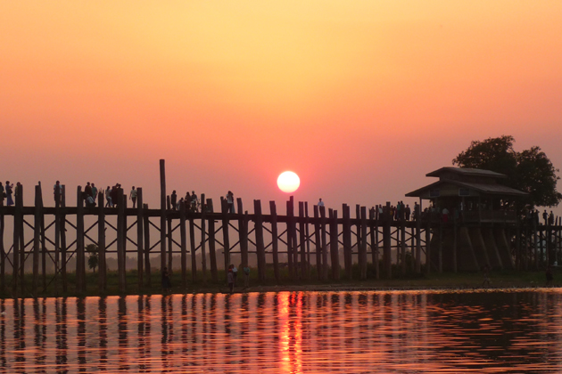 Sunset over U Bein Bridge, Mandalay