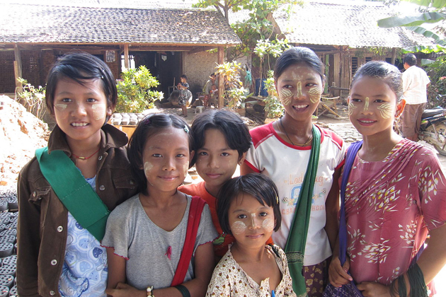 Cute and beautiful Burmese children in Thanaka