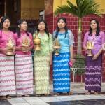 Burmese girls in the traditional costume - Longyi.