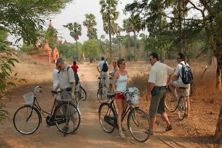 Family in their cycling trip in Bagan, Myanmar.