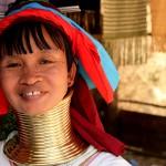 Ethnic woman in Myanmar wearing brass coils around their necks.