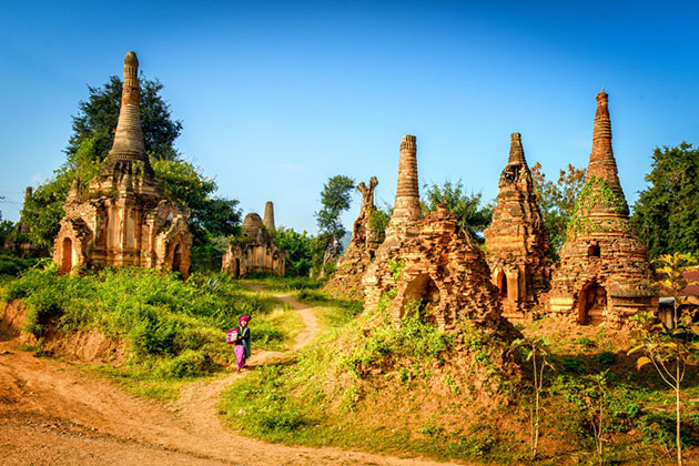 Gaze out at the fantastic complex of stupas in Indein Village in Myanmar itinerary 6 days