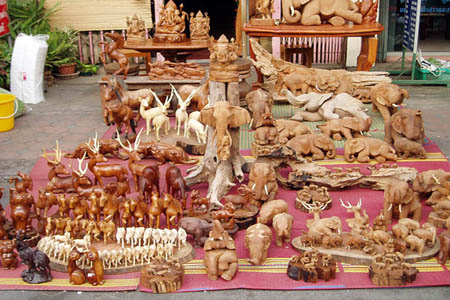 Handicraft products in Chiang Mai Handicraft Village.