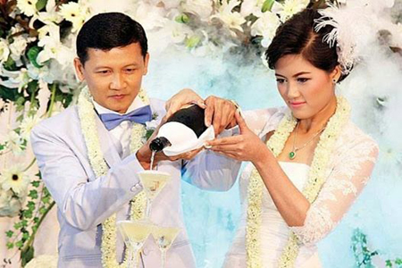 Pride and groom at Home Wedding in Myanmar.