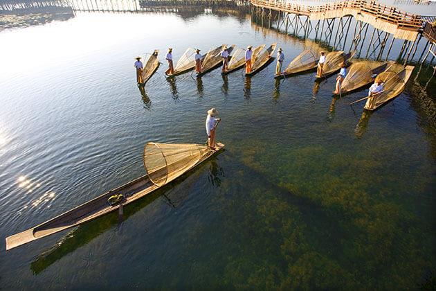 Intha fishermen in Inle Lake