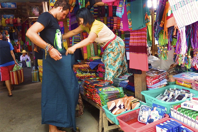 Traditional Longyi is a good souvenirs in Myanmar