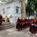 See the monks from Mahagandayon Monastery ask for alms in morning