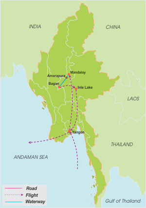 Myanmar Highlight Tour – 10 Days map