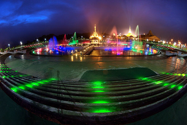 Nay Pyi Taw Water fountain at night