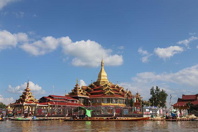 Nga phe chaung monastery - the sacred pagoda enshrine 5 images of the buddha