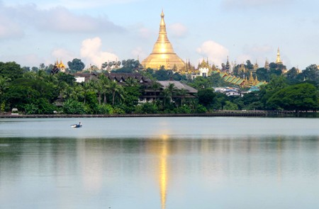 Panoramic view of Shwedagon Pagoda from Kandawgyi Lake.