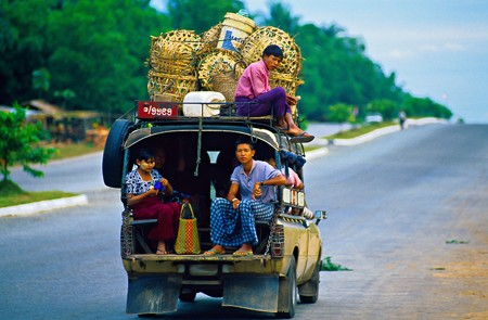 Public transportation, Bandar Gone, on the Yangon-Bago Highway, Myanmar.