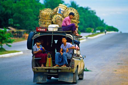 Public transportation, Bandar Gone, on the Yangon-Bago Highway, Myanmar.