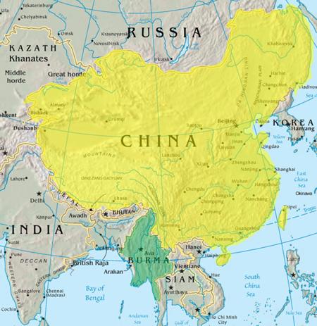 Qing and Konbaung teritory before Sino Burmese War.