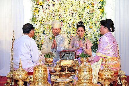 Traditional Wedding Ceremony.Wedding Ceremony And Dead Ceremony Of Myanmar People