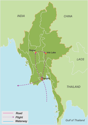 Sacred Myanmar – 9 Days map