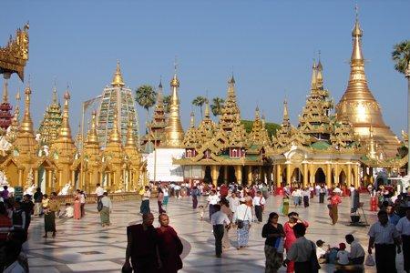 Shwedagon Pagoda in a crowded day.