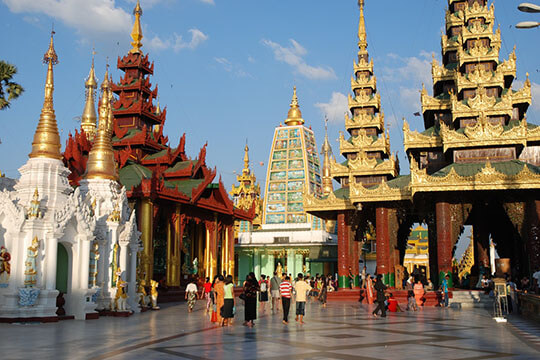 Shwedagon pagoda in Yangon city