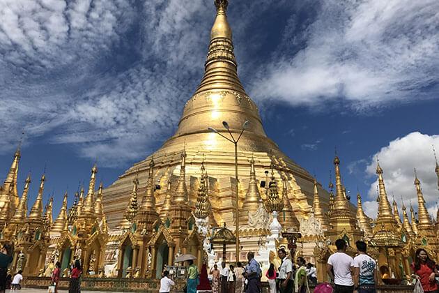Shwedagon pagoda in a sunny day