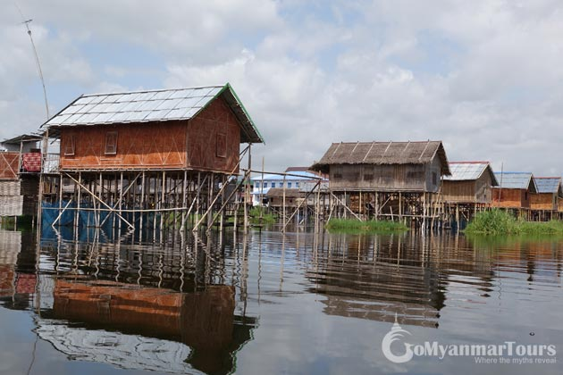 get on a boat trip and pass through Stilt house villages in Myanmar itinerary 10 days