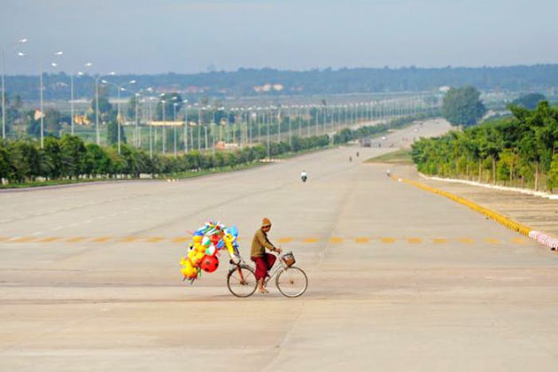 The 20 lane highway and light traffic in Nay Pyi Taw once making it as if a ghost city