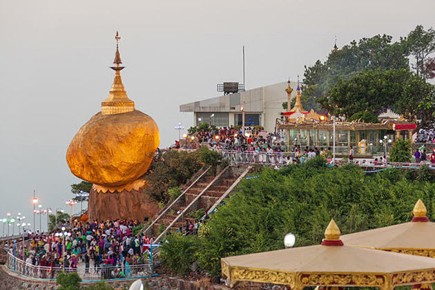 The Golden Rock at Kyaikhtiyo Pagoda