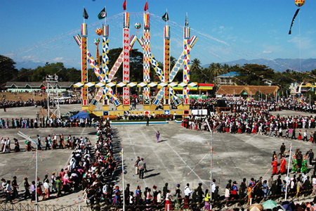 The Kachin Manaw festival in Myitkyina, Myanmar.