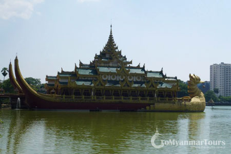 The floating Karaweik Hall on Kandawgyi (Royal) Lake