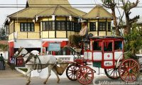 Horse carriages and British colonial houses in Pyin-Oo-Lwin