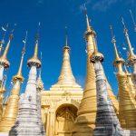golden stupas in Shwe indein temple