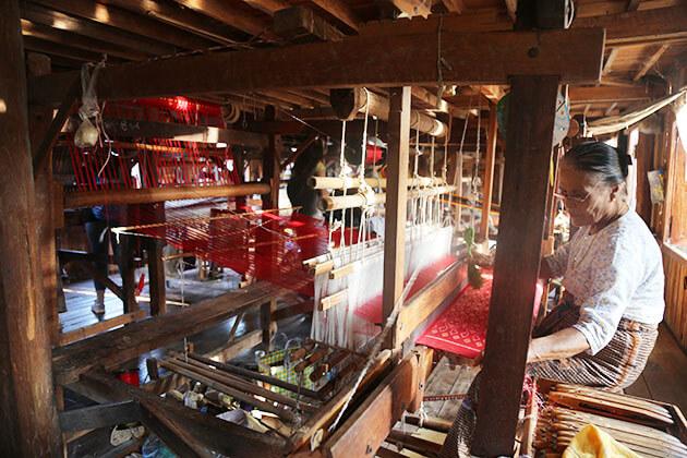 local lotus weaving workshop in inle lake