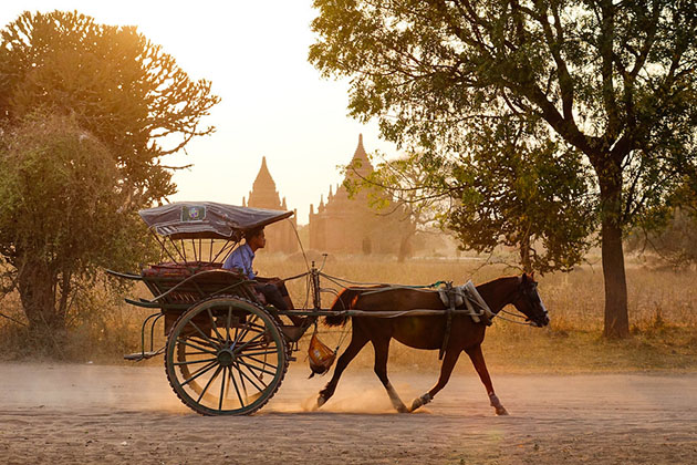 ride on a horse cart in bagan- myanmar 6 days itinerary