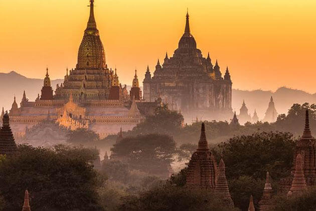 the ancient temples of bagan in sunset time