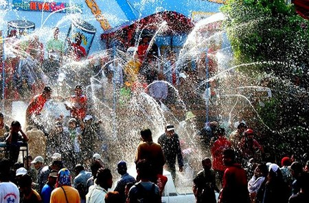 Bustling atmosphere in Thingyan New Year Water Festival, Myanmar