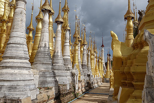 stupas in Inlein pagoda-the last destination in Myanmar laos vietnam itinerary