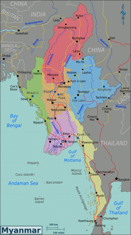 Map Of Myanmar Yangon Mandalay Bagan Naypyidaw